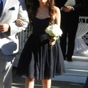 Lulu's Bridesmaid Strapless Navy Blue Tulle Dress